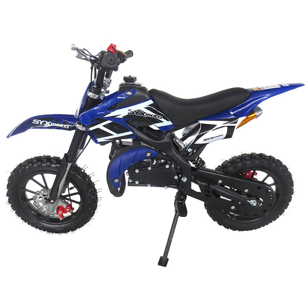 SYX MOTO Kids Mini Dirt Bike Gas Power 2-Stroke 50cc Motorcycle Holeshot Off Road Motorcycle Holeshot Pit Bike, Fully Automatic Transmission, 2018 Blue